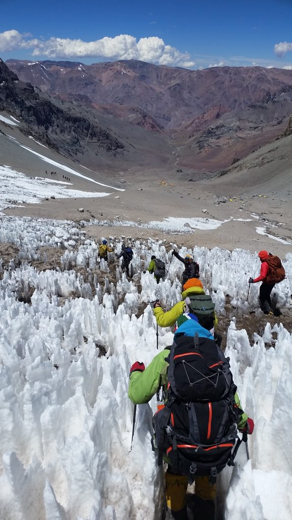 Navigating ice on the way to Aconcagua.